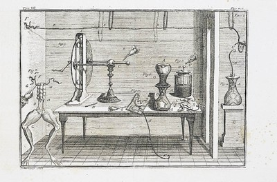 An illustration of the domestic laboratory that Galvani built in his house to perform the electrical experiments on animals. From Galvani's De viribus electricitatis in motu musculari, 1791