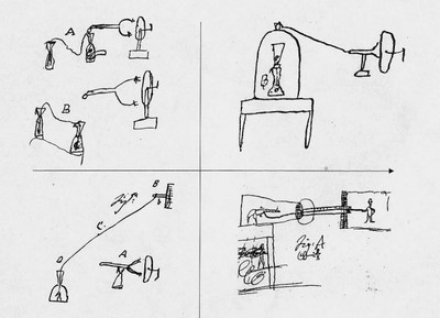 Galvani's sketches of the experimental arrangement that he developed in his study of the electric stimulation of muscular motion. From Galvani's manuscripts kept at the Bologna Academy of Sciences (photo by M. Bresadola)